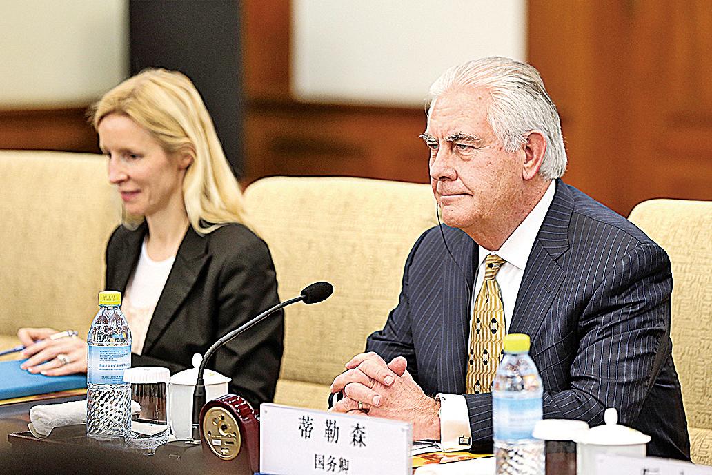 蒂勒森在北京表示,北韓局勢已經到了「危險的水平」,中美雙方要共同努力制止北韓威脅。(AFP)