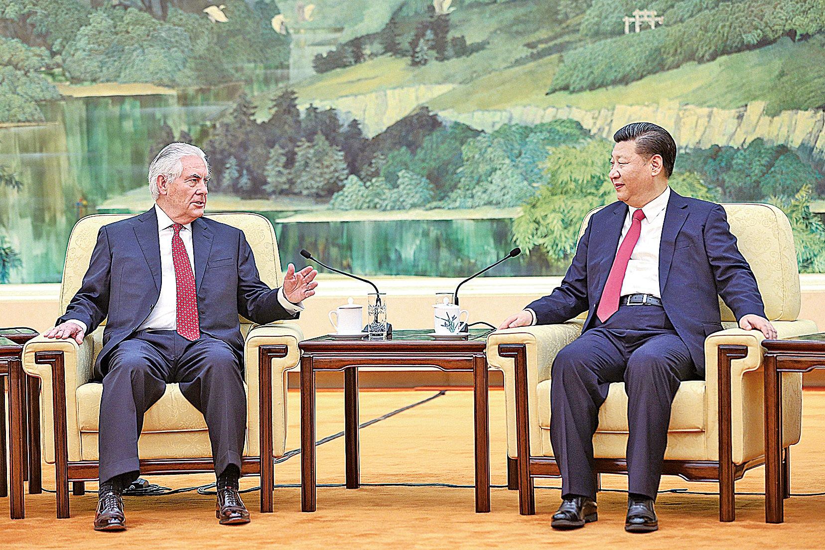正在出訪北京的美國國務卿蒂勒森(Rex Tillerson),北京時間3月19日上午11時與中國國家主席習近平會面。(AFP)