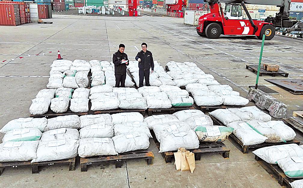 圖為2016年12月28日,共重3.1噸的穿山甲鱗片在上海通關時被查獲。(Getty Images)