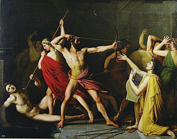 奧德修斯返回家鄉後,和他的兒子聯手,殺死了佔據他宮殿和財物的貴族。(網絡圖片)