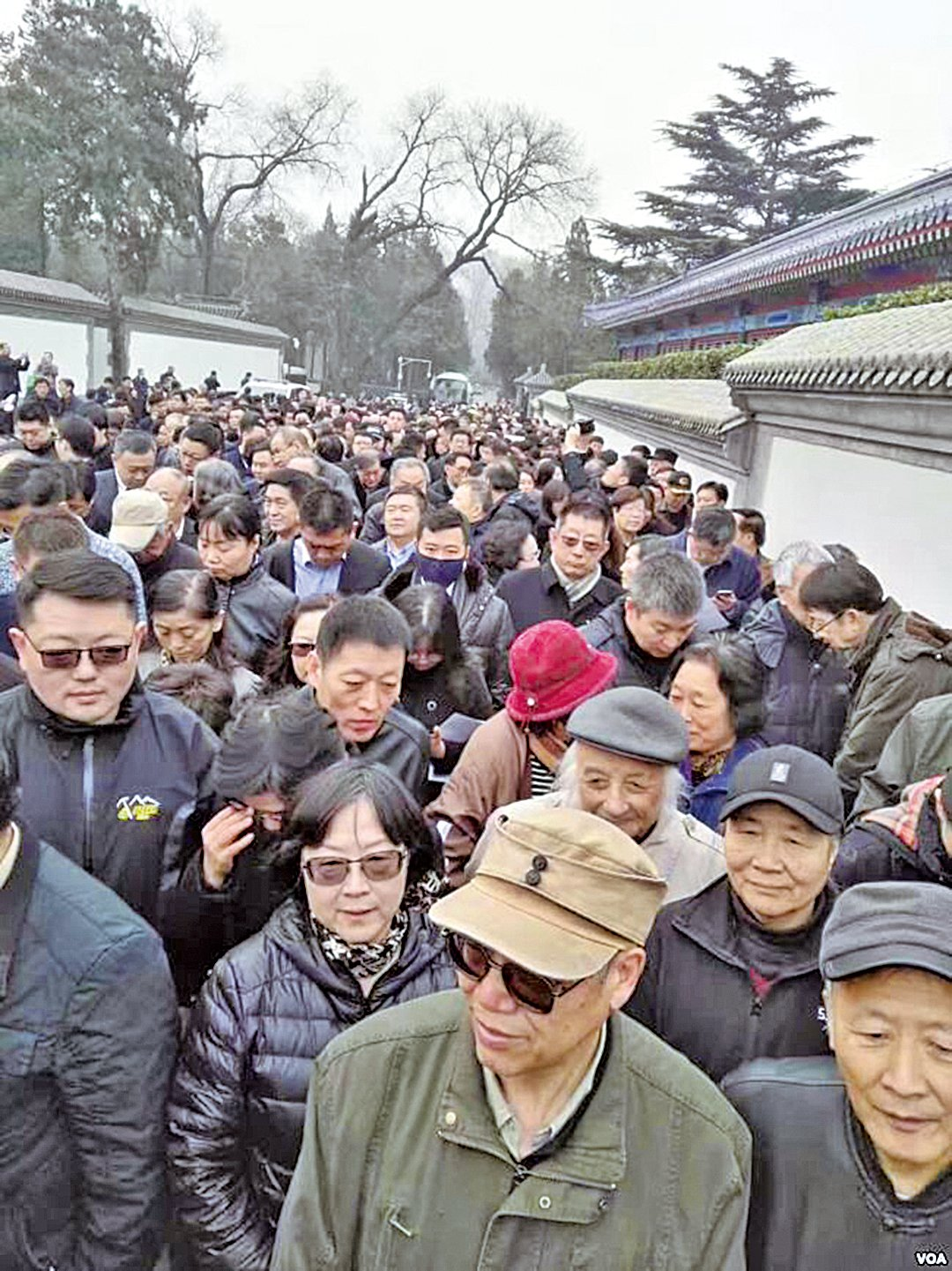 3月17日,悼念者排長隊向胡耀邦遺孀李昭致哀。(VOA)