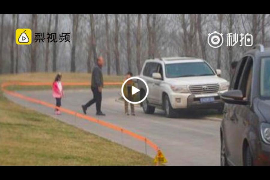 大陸動物園再曝險情,3月19日,有遊客在北京野生動物園白虎區多次下車。圖為事發現場。(視像擷圖)