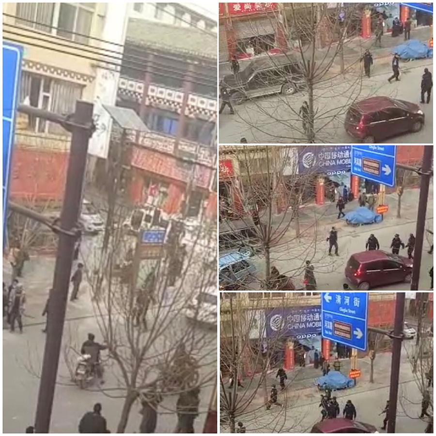 白瑪堅參於3月18日在甘孜縣城展開自焚抗議後,警察嚴控現場(視像擷圖/自由亞洲電台)