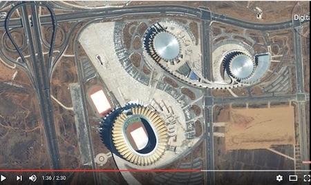 據DigitalGlobe說,這個體育場很長時間都未徹底完工。(Youtube視像擷圖)