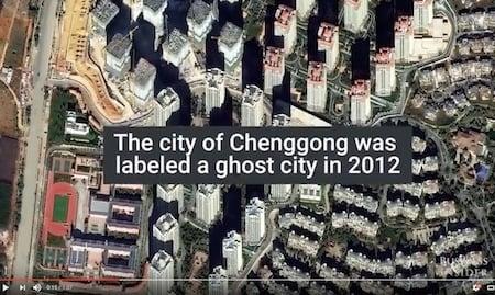 昆明市呈貢區早在2012年就被稱為「鬼城」。(Youtube視像擷圖)