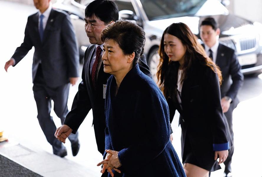 朴槿惠前往檢察廳接受問訊