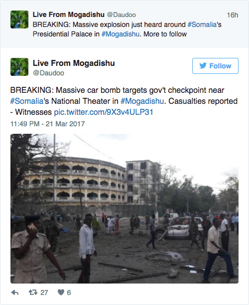 周二(3月21日),非洲國家索馬里首都摩加迪沙(Mogadishu)總統府附近發生大爆炸,至少造成5人死亡,多人受傷。(Twitter)