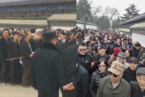 3月17日,李昭的葬禮上,約有3000多人去送行,中共警方在旁邊戒嚴。(網絡圖片)