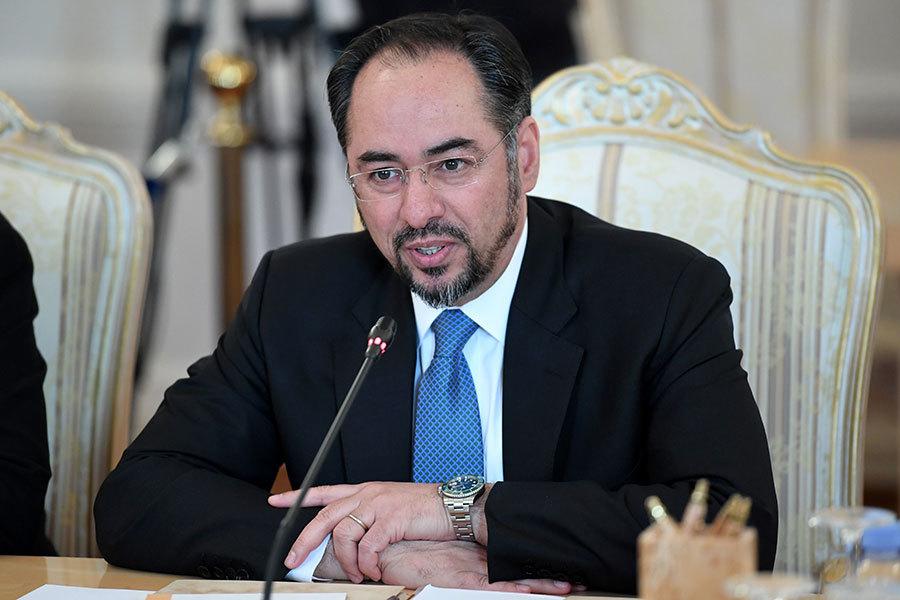 阿富汗外交部長拉巴尼於2017年3月21日出席華盛頓的反伊斯蘭國會議,他呼籲美國與北約應增兵繼續支持阿富汗打擊恐怖組織。圖為拉巴尼於2017年2月7日赴莫斯科與俄羅斯外長會談。(KIRILL KUDRYAVTSEV/AFP/Getty Images)