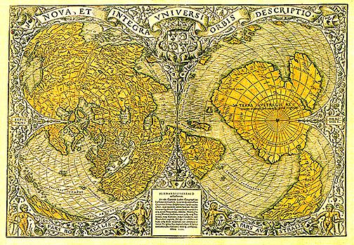 奧倫提烏斯‧費納烏斯世界地圖(1531年繪製)。(維基百科)