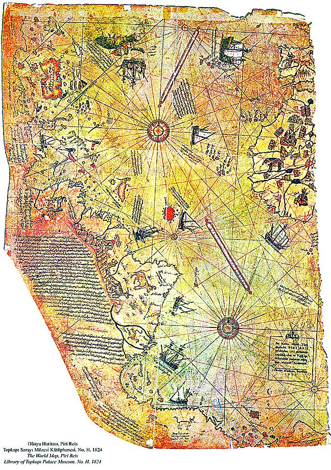 皮瑞‧雷斯地圖(1513年繪製)。(維基百科)(NASA/ESA)