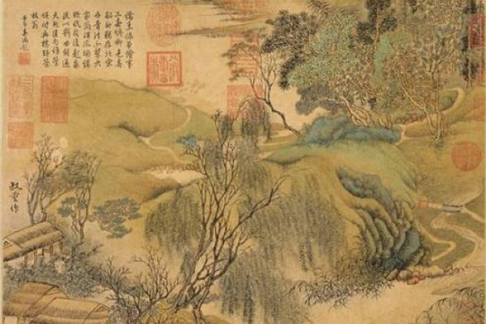 元.朱叔重〈春塘柳色〉(國立故宮博物院)