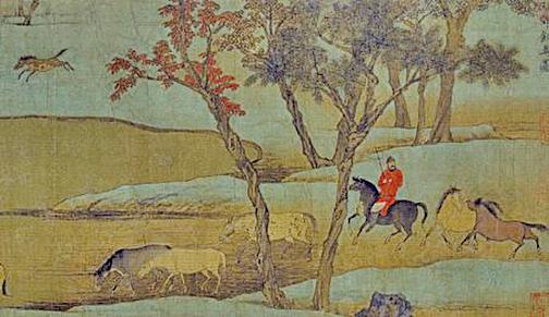元趙孟頫〈秋郊飲馬圖〉(公有領域)