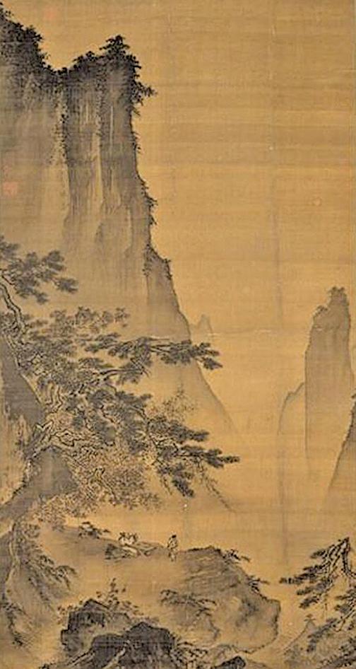 馬遠《對月圖》,他是南宋抒情山水畫的先驅,現藏台北故宮博物院(公有領域)