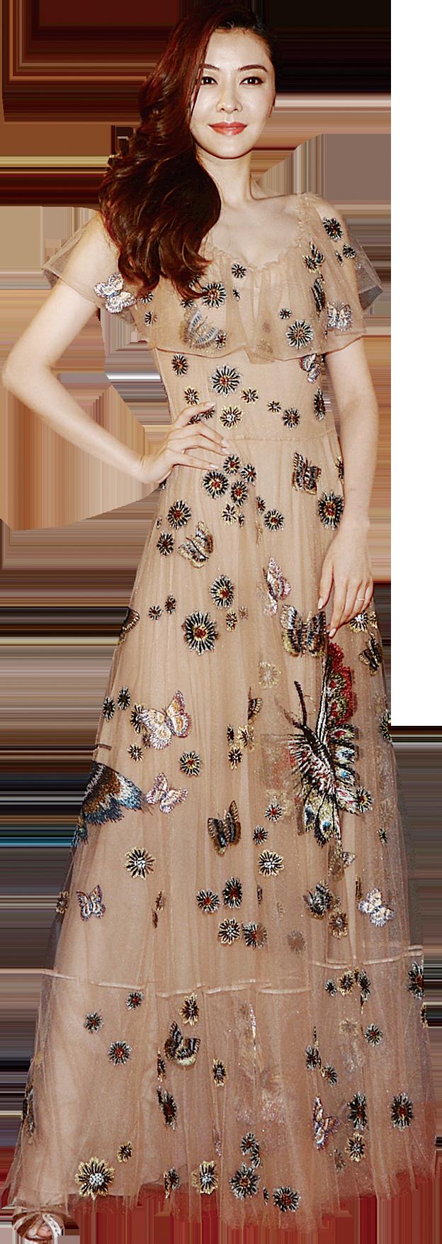 名模熊黛林穿著高貴優雅碎花長裙行紅地毯。(宋碧龍/大紀元)