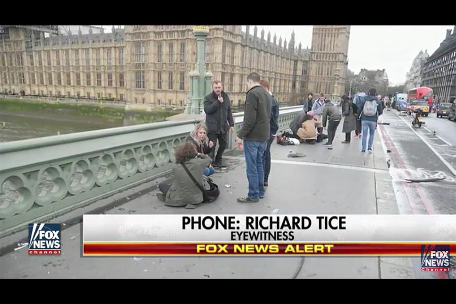 英國倫敦當地時間周三(22日)下午2時30分左右,議會大樓外驚傳槍響。(霍士新聞視像擷圖)