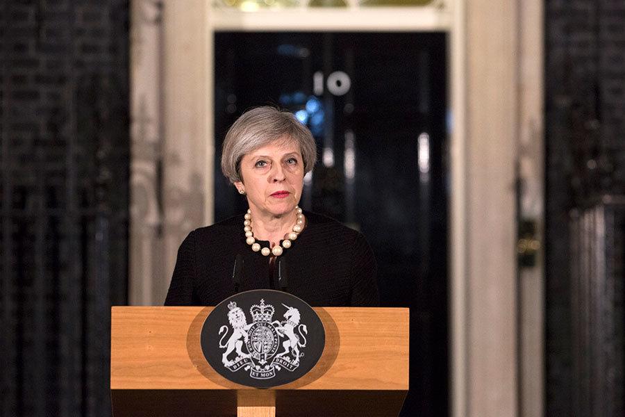 首相文翠珊發表簡短演說。(Richard Pohle – WPA Pool/Getty Images)