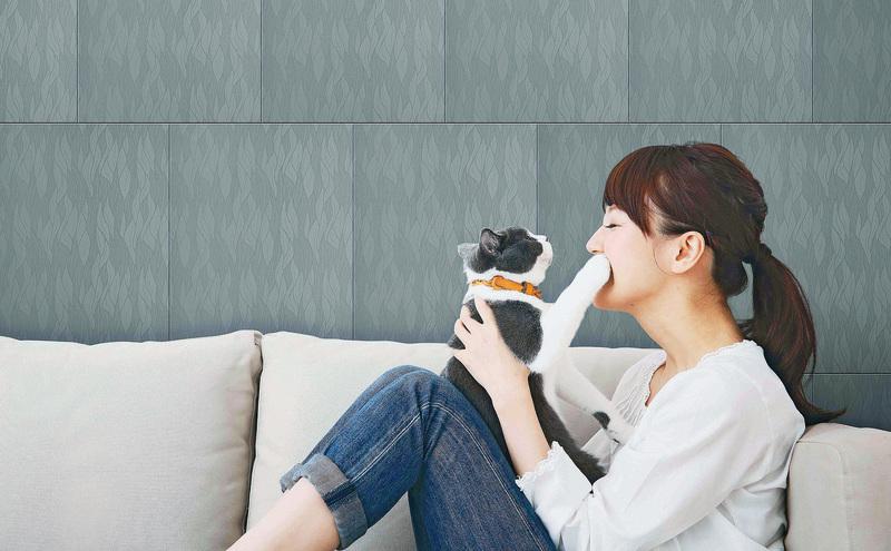 客廳的牆壁用壁磚代替壁紙,也可以營造出溫馨的效果,而且壁磚比壁紙更加耐用。(MML)