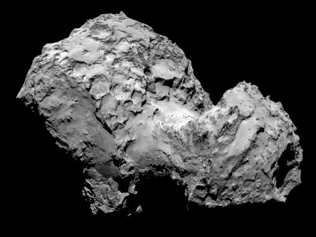 歐洲太空總署將在2014年11月12日發射小型登陸器「菲萊」,前往67P彗星。本圖為歐洲宇航局於2014年8月6日拍攝到的67P彗星畫面。(ESA)