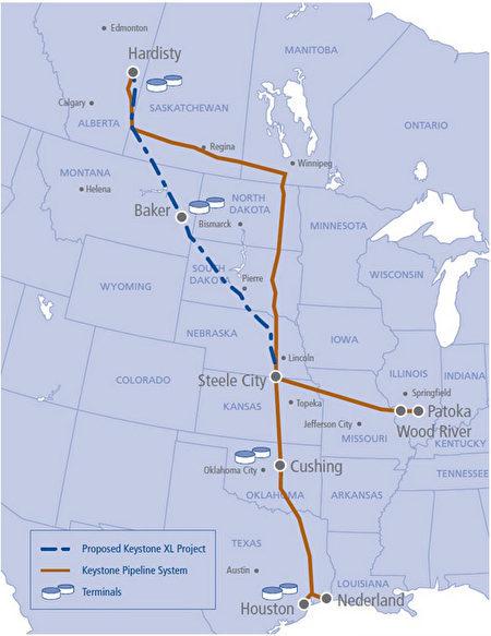 加拿大橫加公司(TransCanada)基石輸油管延長項目(Keystone XL pipeline)規劃圖。(TransCanada網站)
