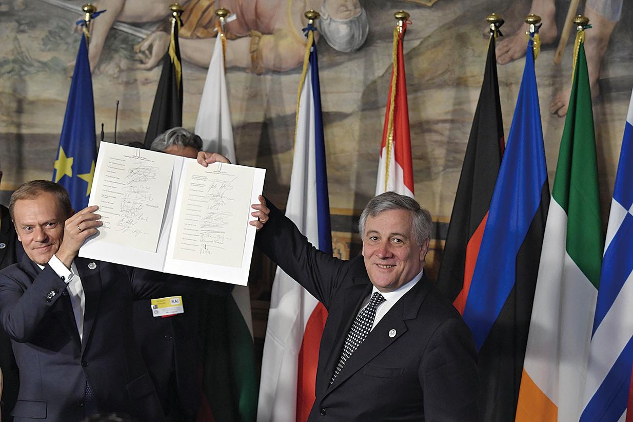 歐盟27國領導人周六(3月25日)齊聚意大利羅馬,紀念《羅馬條約》簽署60周年,發佈千字宣言。(AFP)