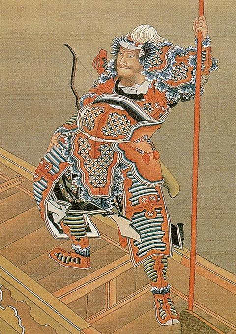 赤壁之戰前的曹操,日本江戶時代浮世繪畫家葛飾北齋繪。(公有領域)