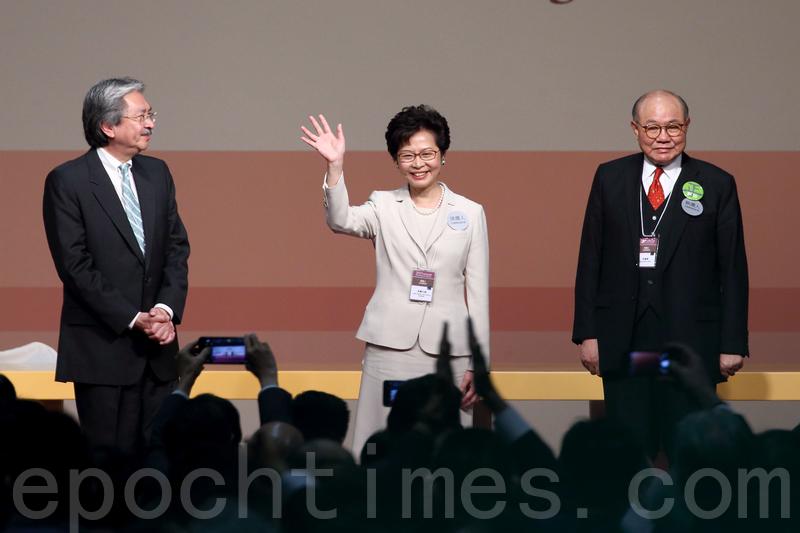 行政長官選舉星期日選出第五屆行政長官,林鄭月娥以777票當選,成為香港第一位女特首。民望一直領先的曾俊華則以365票落選。(李逸/大紀元)