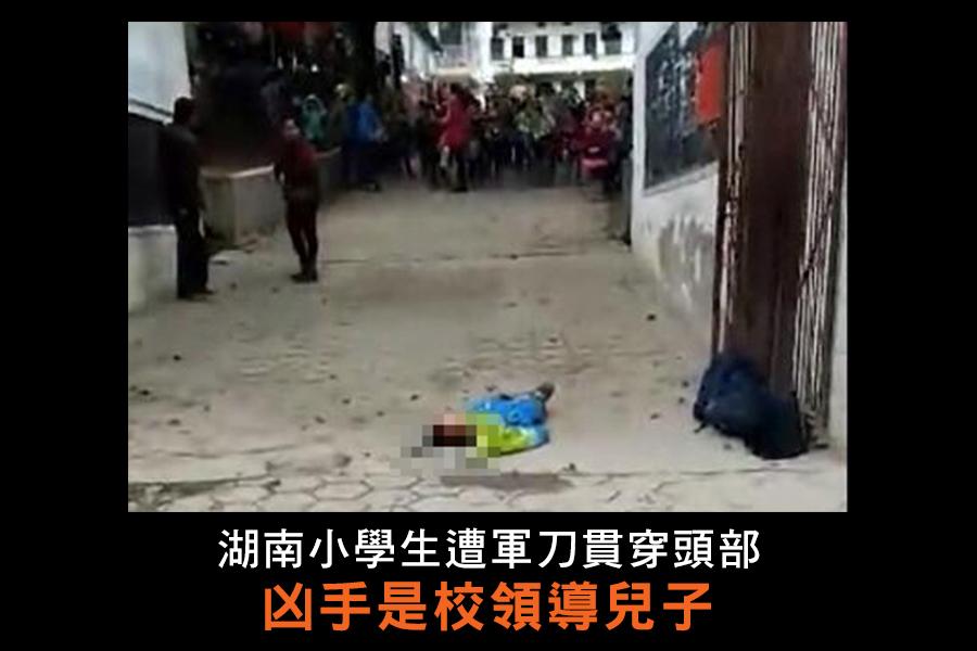 湖南隆回縣橫板小學一名二年級學生,被該校一保安員用軍刀從頭頂刺入,直達喉部,生命垂危。凶手是該校領導的兒子,有吸毒前科。圖為學生被刺現場。(志願者提供/自由亞洲電台)