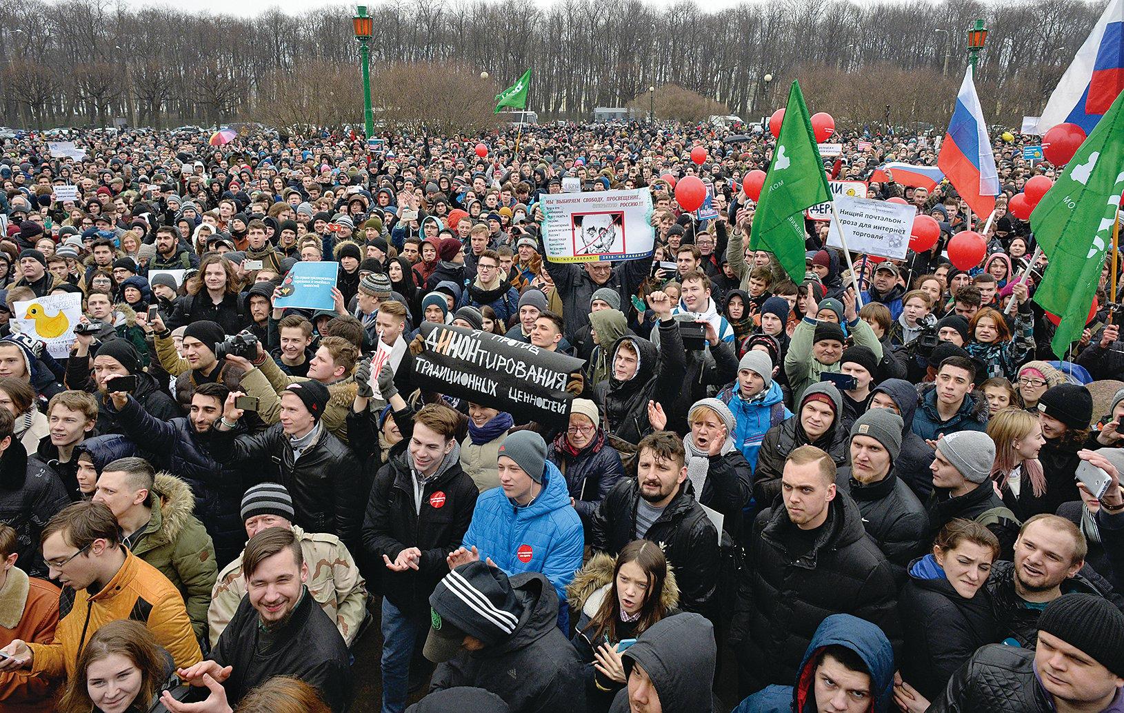 俄羅斯26日多個大城市爆發大規模反腐敗示威,其中有數百名抗議者遭拘捕。美國政府譴責俄國官方拘捕抗議者。(AFP)