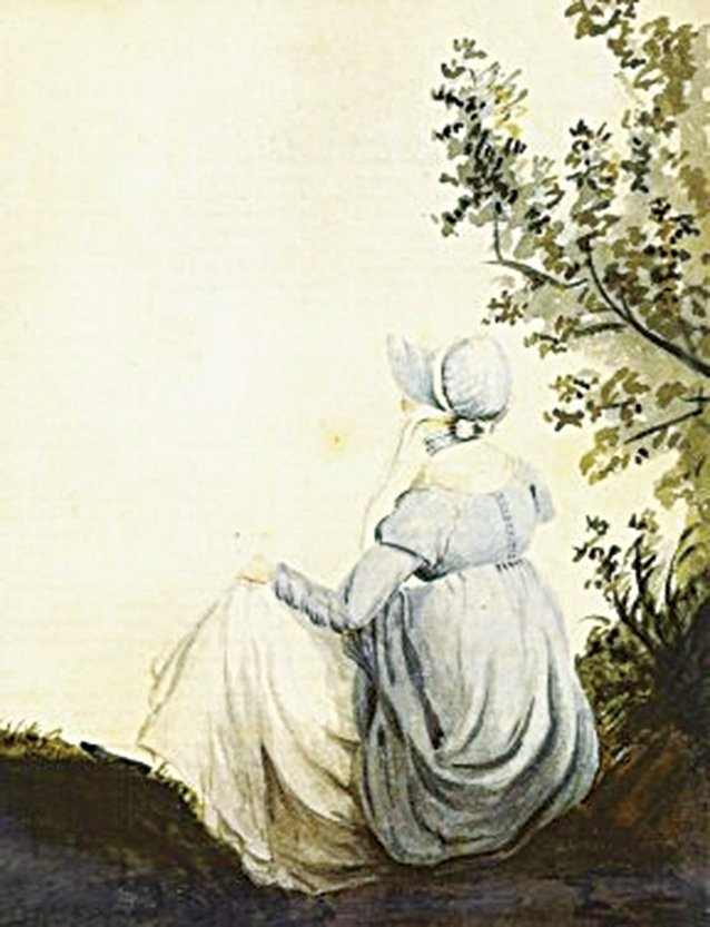 珍·奧斯汀的水彩畫像,由她的姐姐Cassandra於1084年作。(維基百科)