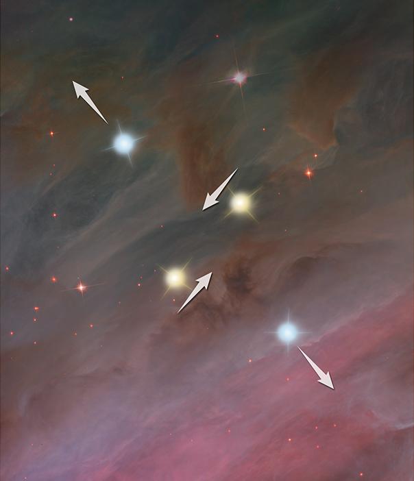 科學家推測,星戰期恆星之間的作用力:恆星相互排斥(形同對打)。(NASA, ESA, and Z. Levy (STScI))