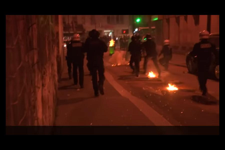 周日(26日)晚,一名旅居法國巴黎的中國男子與上門警察發生衝突,遭警方槍殺,引發暴力衝突,造成3名警察受傷,35名抗議者被捕。(YouTube視像擷圖)