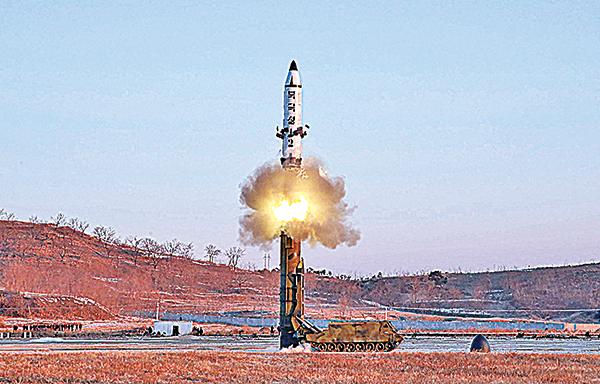 南韓預計北韓可能會在4月第一個星期、即特習會前進行第六次核試。圖為今年2月北韓發射「北極星-2」彈道導彈。(Getty Images)