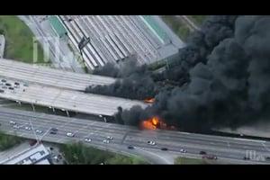 不敵熊熊烈火 美州際公路橋樑坍塌
