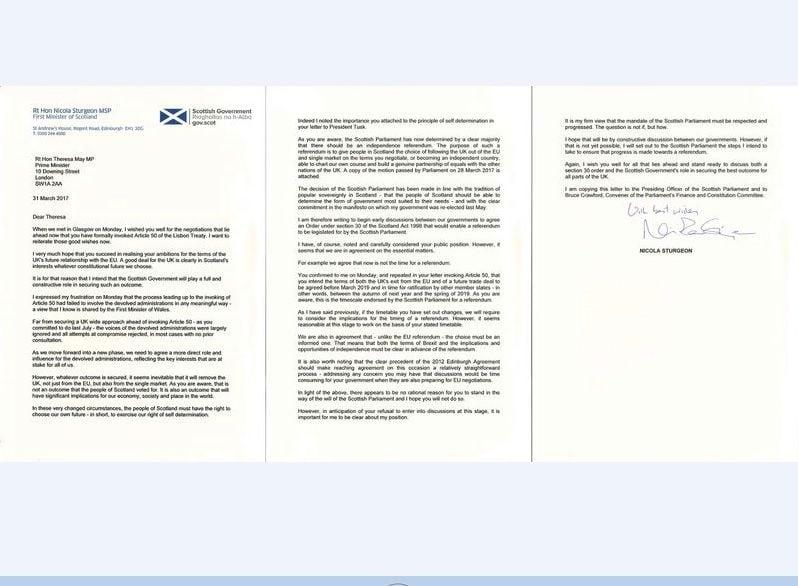 蘇格蘭首席大臣施特金致函(圖)英國首相文翠珊,要求讓蘇格蘭舉行第2次獨立公投。(HO/Scottish Government/AFP)