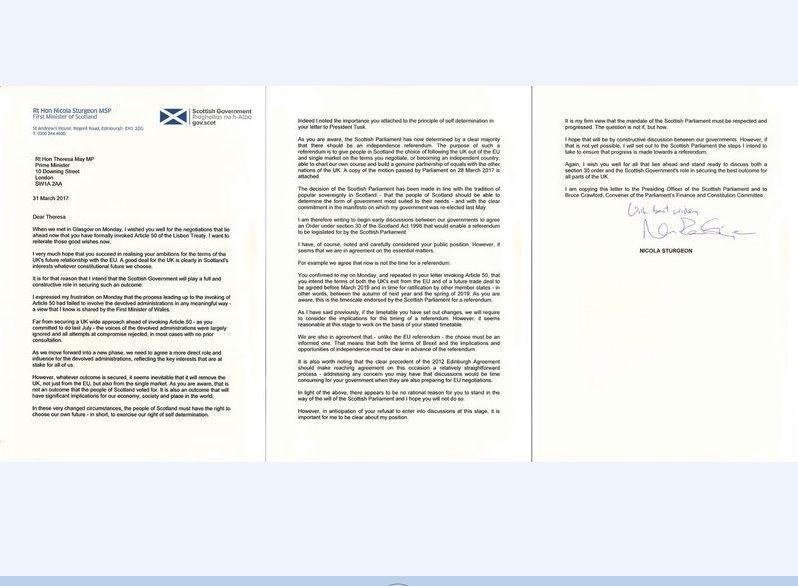 蘇格蘭致函英相 正式要求第二次獨立公投