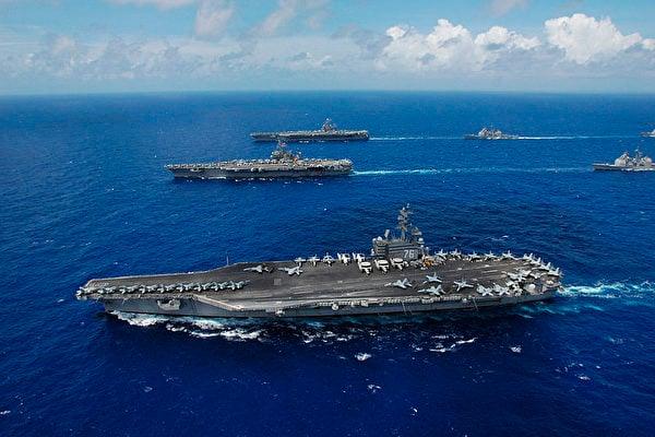 圖為美韓2016年10月10日開始在南韓周邊海域展開大規模海上聯合軍事演習,「列根」號核航母參加軍演,對北韓釋放強烈警告信號。(維基百科)