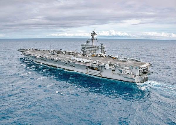 美軍「卡爾文森號」航母3月30日再次駛入南海巡航。(網絡圖片)