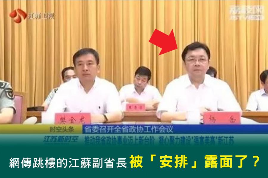 「跳樓自殺」消息傳出兩天後,中共江蘇省委常委、副省長楊岳公開露面「闢謠」。(網路圖片)