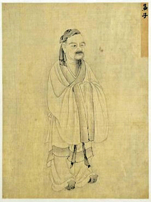 孟子像,清故宮南薰殿舊藏歷代聖君賢臣全身像冊,紙本白描,今藏台北故宮博物院。(公有領域)