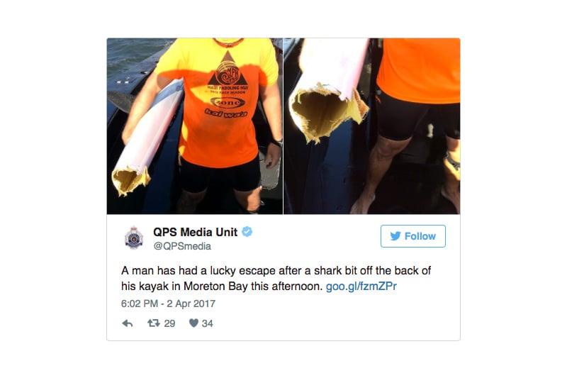 澳洲男子克雷登周日(4月2日)在布里斯本外海划獨木舟時,被鯊魚大口咬掉半截船身,他在殘餘的船身上撐了40分鐘後獲救,幸運保住小命。(推特擷圖/twitter.com/QPSmedia)