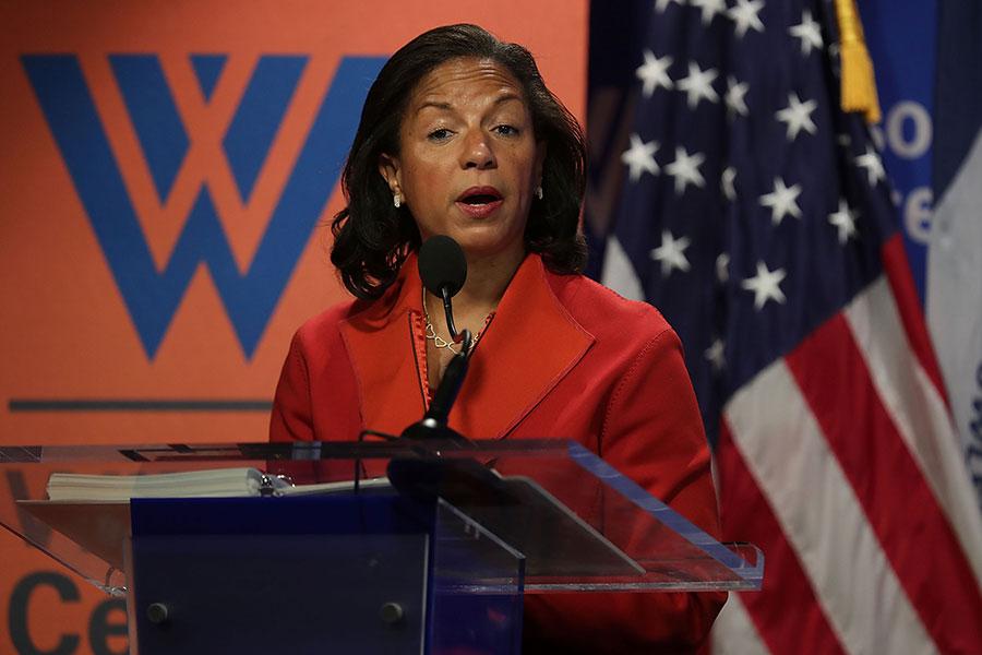 多個消息來源告訴霍士新聞,前國家安全顧問賴斯(Susan Rice)下令披露在監聽過程中,附帶聽到的特朗普團隊成員的姓名。(Alex Wong/Getty Images)