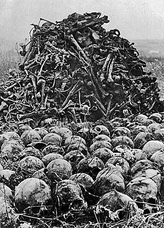 1944年攝於波蘭LUBLIN的歷史圖 片,一堆人骨和頭骨被堆在Majdanek 納粹集中營。(Getty Images)