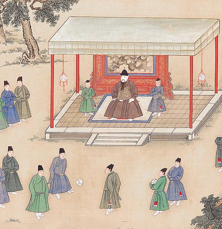 明代永樂帝(公元1402至1424年)觀賞宦官蹴鞠。