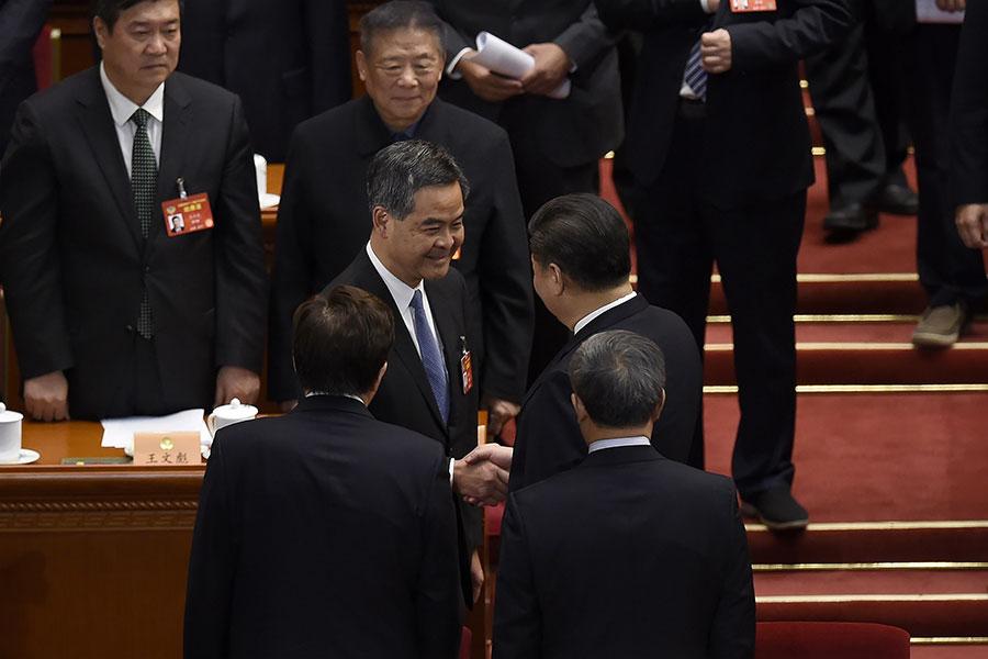 3月13日,在中共政協閉幕會議上,香港特首梁振英正式獲任命為全國政協副主席。(WANG ZHAO/AFP/Getty Images)