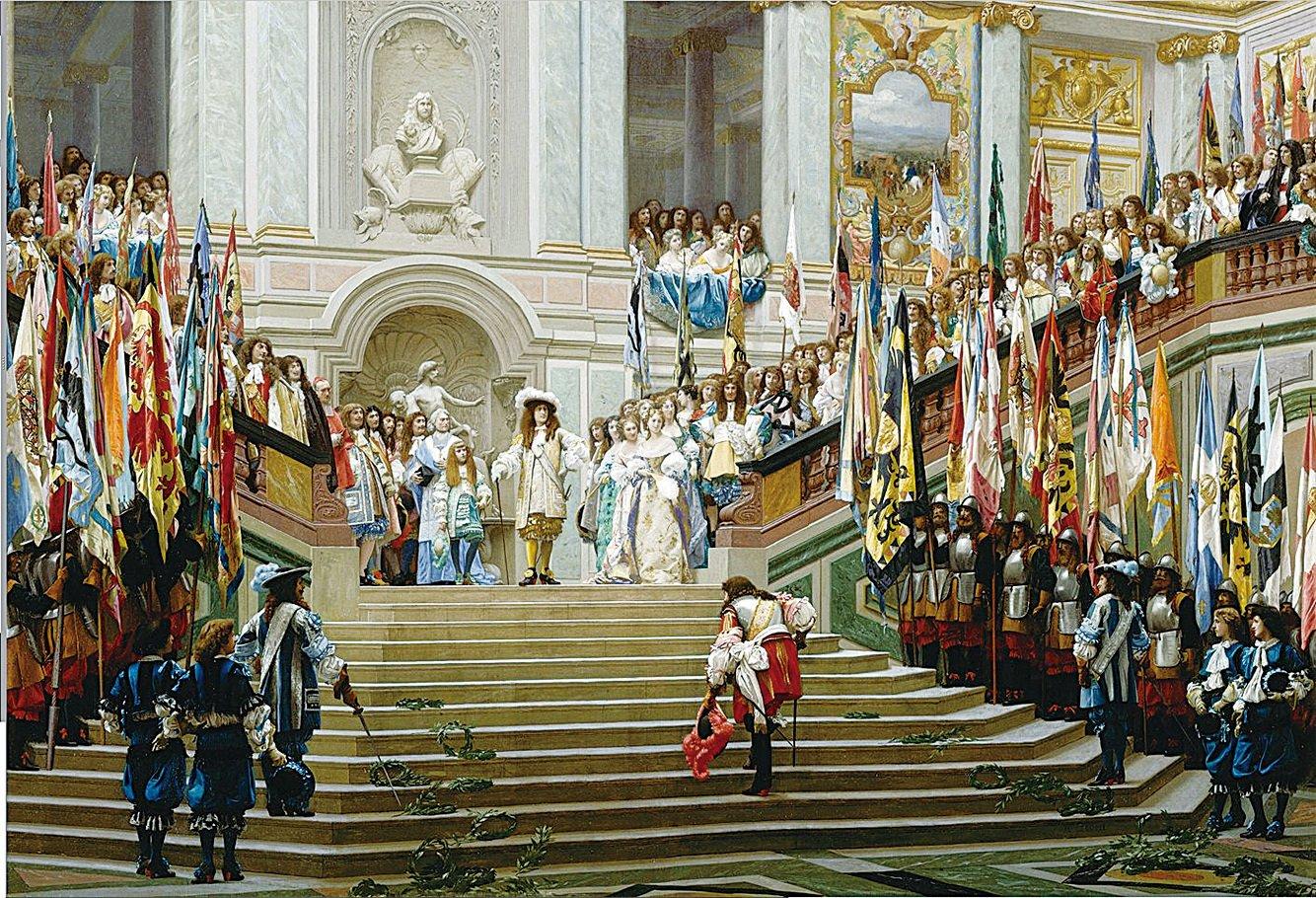 《在凡爾賽接見大孔代親王》(Reception of Conde in Versailles),瓊.雷昂.傑洛姆(Jean-Leon Gerome)作於1878年, 96.5x 139.7 cm,畫布油畫,原奧賽美術館藏。(維基百科)
