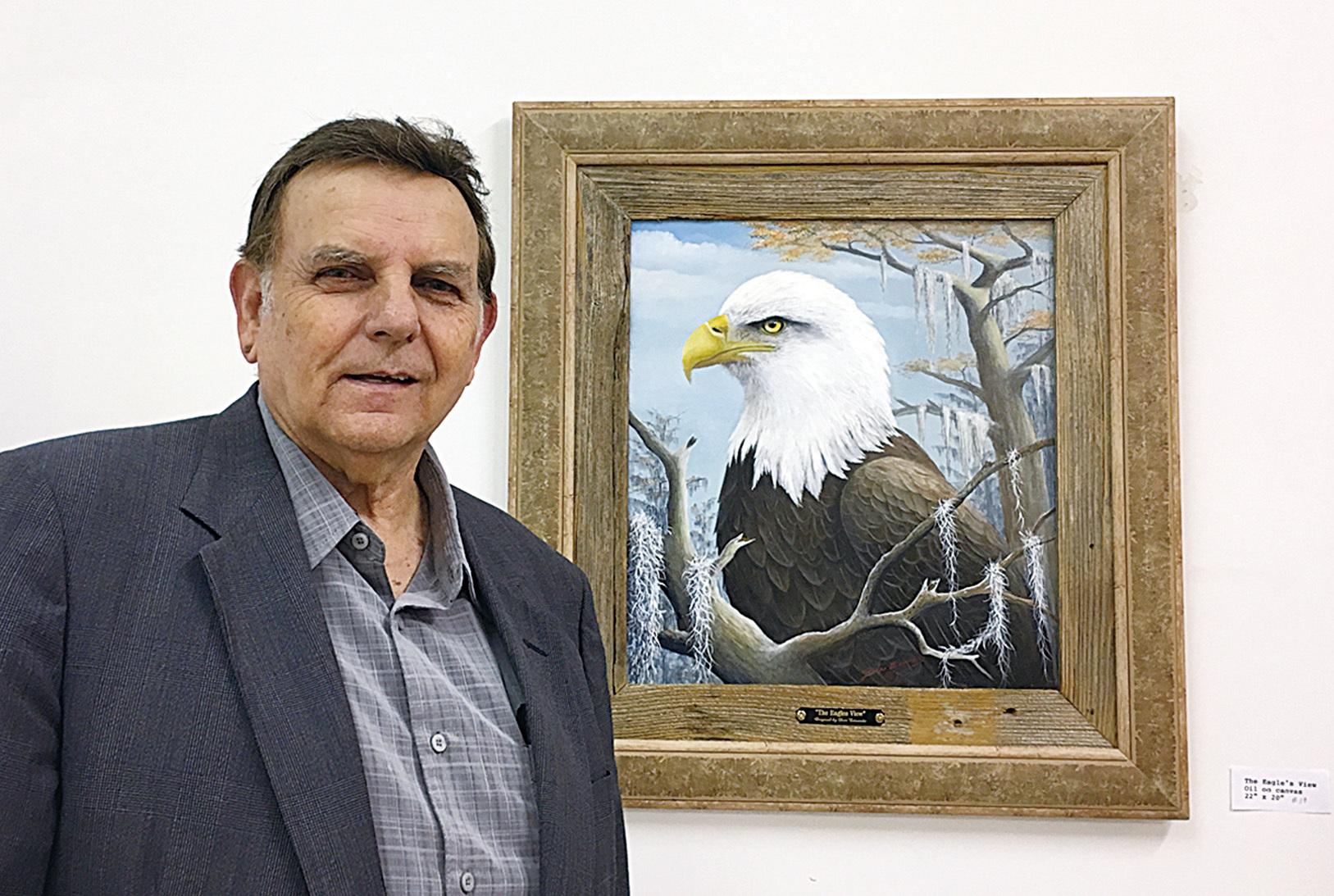 路易斯安那州畫家Donald Edwards在紐約舉辦個人油畫展《野生動物展》的開幕式上現身。(林南/大紀元)