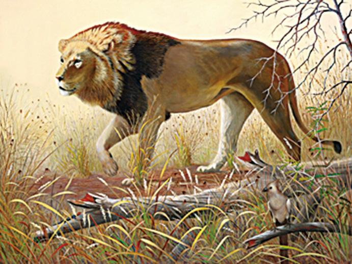 油畫《早晨出獵》。