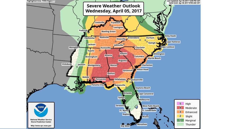 根據氣象預報,美國東南部周三(4月5日)將遭遇惡劣風暴,近5,500萬人面臨龍捲風、大冰雹、強風的威脅。(NWS推特擷圖)