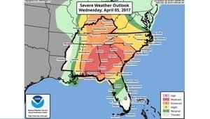 惡劣風暴周三襲美東南 近六千萬人受影響